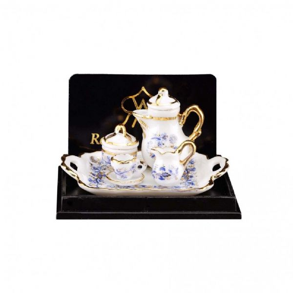 Reutter.  Coffee set. Blue & gold design, 12th scale